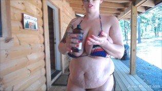 BBW in Bikini OILING Up Voyeur Public