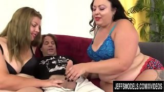 Chubby Sluts Calista Roxxx and Miranda Kelly Suck and Fuck a Lucky Jerk