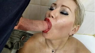 Mature cocksucker in bathroom! Sweet and wild moans with a dick in her mouth and rubbing sperm on her tits