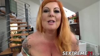 Redhead BBW Tammy Jean roughly penetrated with big dick
